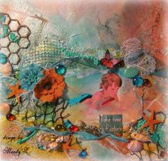 "I created this 12""x12"" mixed media layout using the ""Home Sweet Home"" July kit from: Scraps of Elegance.  I used various ""Lindys Stamp Gang"" mists- Shimmerz Texturz...... http://kashagray5.blogspot.com/"