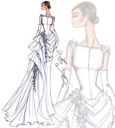Bridal Couture 2014 Look 2 by Hayden Williams Fashion Illustrations Hayden Williams, Fashion Art, Trendy Fashion, Fashion Models, Fashion Beauty, Haute Couture Style, Glamour, Tumblr Dress, Dress Illustration