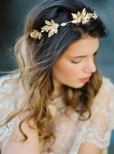 Golden Maple Leaf, Rhinestone and Pearl Crown, Bridal Crown, Headpiece -Style 5515 'Genevieve'  MADE TO ORDER