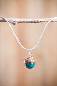 Acorn Necklace with Chrysocolla + Sterling Silver by NuttierThanASquirrel | $32.50
