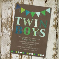 twins baby shower invitation green, navy and baby blue with banner, DIY Printable (item 152b). $13.00, via Etsy.