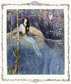 Once a water nymph with long flowing hair was sitting on the ground.  Erich Schütz, from Historie von der schönen Lau (The story of Lau, the beautiful water nymph), by Eduard Friedrich Mörike, Vienna, 1921.  (Source: archive.org)