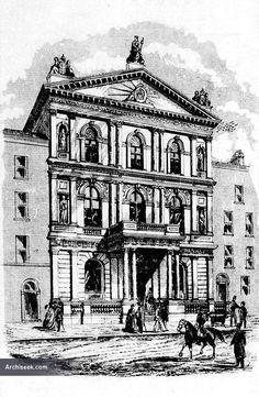 1868 - Masonic Lodge, Molesworth Street, Dublin - Architecture of Dublin City - Archiseek - Irish Architecture Ireland Pictures, Old Pictures, Old Photos, Masonic Lodge, Dublin City, Freemason, Historical Pictures, Ireland Travel, Art History