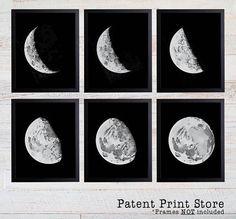 Moon Phase Print Set. Moon Decor. Moon Phases Wall Art. Moon Phases Prints. Moon Prints. Moon Posters. Moon Wall Art. Astronomy Art Prints.
