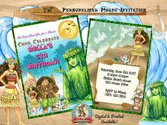 Moana Birthday Invitation Moana Invitation Digital Moana Personalized Invitations, Digital Invitations, Birthday Invitations, Moana Birthday, Printable Party, Decoration, Rsvp, Digital Prints, Shopping