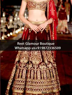Adorable Blood Maroon Heavy Embroidered Bridal Lehenga Product Code : Reet_b002 To Order, Call/Whats app On +919872336509 We Offer Huge Variety Of Punjabi Suits, Anarkali Suits, Lehenga Choli, Bridal Suits,Sari, Gowns Etc .We Can Also Design Any Suit Of Your Own Design And Any Color Combination.