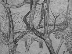 """SERUSIER Paul - Le Verger (Louvre RF40965-Recto) - Detail 02  -  TAGS/ details détail détails detalles drawing drawings dessins dessin croquis étude study studies sketch sketches """"dessins 19e"""" """"19th-century drawings"""" croquis étude study studies sketch sketches """"dessin français"""" """" French drawings"""" """"peintres français"""" """"French painters"""" Louvre Paris France Musée museum arbres tree trees trunk orchard grove nature"""