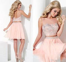 Wholesale Homecoming Dresses Two Pieces Short Homecoming Dresses 2015 Beaded Top Chiffon Sexy Backless Elegant Nude Color Crew Collar Cheap Short Prom Party Dress Gown Aqua Homecoming Dresses From Molly_bridal, $79.02| Dhgate.Com