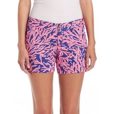 Lilly Pulitzer Callahan Coral-Print Shorts ($67) ❤ liked on Polyvore featuring shorts, apparel & accessories, lilly pulitzer, patterned shorts, zipper shorts, print shorts ve coral shorts