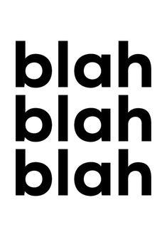 Bla bla bla stampa tipografia Art arte parete minimale