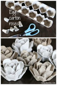 Upcycle: Egg carton roses Turn an ordinary egg carton into paper roses. Paper Flowers Diy, Paper Roses, Flower Crafts, Diy Paper, Rose Crafts, Egg Carton Art, Egg Carton Crafts, Diy Crafts For Kids, Fun Crafts