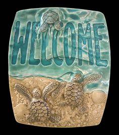 "Art tile, ""Baby sea turtle Welcome"" ceramic tile, art"