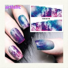 1 sheet Water Transfer Nail Art Sticker Decal Galaxy Space 3D Print Manicure Tips DIY Nail Foils Decorations 8178