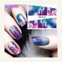 1 hoja galaxy espacio de impresión 3d de transferencia de agua nail art sticker decal manicura consejos de bricolaje nail láminas decoraciones 8178