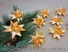 Christmas Star Ornaments Set of 9 / Gold German Moravian Advent Christmas Danish Swedish Ribbon Paper Origami 3d Stars  / Gold by CREATIONSbySabine