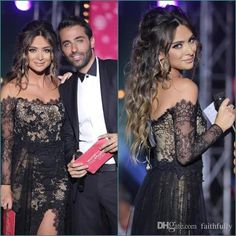 Ulass Charming Black Lace Off Shoulder Long Sleeves Side Split Sexy High Quality Prom Dress Prom Dresses Long With Sleeves, Formal Dresses For Women, Modest Dresses, Club Dresses, Sexy Dresses, Long Red Evening Dress, Evening Gowns, Dress Long, Celebrity Prom Dresses