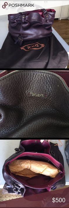 "Tod's burgundy leather handbag Gently worn, burgundy color, Tod's handbag, double handles, zip closure, 11""x6""x10"", 2 outside snap pockets, one inside zip pocket, with original dust bag Tod's Bags Shoulder Bags"