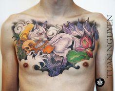 @tuantattoo @inkatattoolyon chez INK'A TATTOO LYON, 5 rue Longue 69001   #kitsune #kitsunetattoo #lotustattoo #chesttattoo #skulltattoo #colortattoo #neojapanesetattoo #fullchesttattoo #inkatattoolyon #renardtattoo #colortattoo #neojap Inka Tattoo, Lotus Tattoo, Full Chest Tattoos, Lyon, Watercolor Tattoo, Tattoo Art, Lotus Tat, Watercolour Tattoos, Watercolor Tattoos