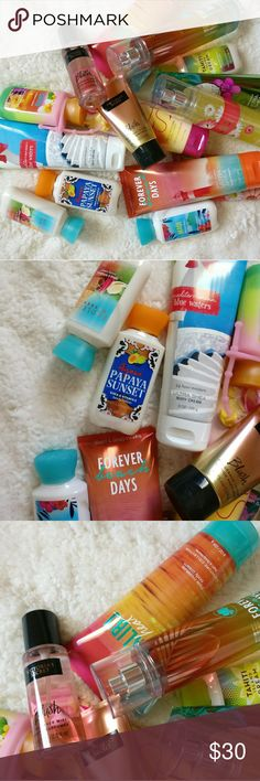 Beauty Bundle Lotions and sprays from Bath and Body Works and Victoria's secret. Unused or fragrance tested only.   Tags:  Body Spray Malibu Heat Love and Sunshine Perfume Cologne Travel Forever Beach Days Mediterranean Waters Tahiti Island Dream Victoria's Secret Makeup