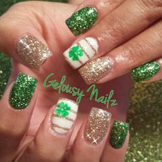 St Patrick's Day gold green shamrock nail design