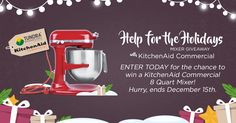 http://woobox.com/gyv24c/jqt4sd     Enter to win a KitchenAid commercial mixer from KitchenAid.  Ends 12/15