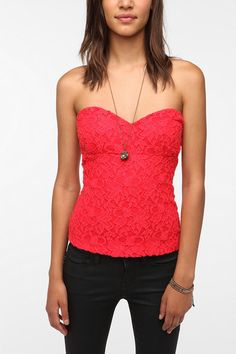 Pins and Needles Lace Zip Back Strapless Top  #UrbanOutfitters  wish it came in black...