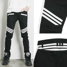 Remember Click Slim Striped Legs Pants BLACK S M L Korean Wear #RememberClick #CasualPants