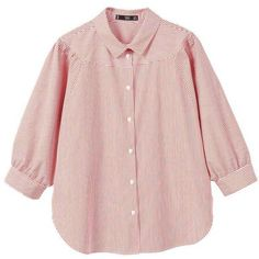 Puffed Sleeves Striped Shirt (£30) ❤ liked on Polyvore featuring tops, striped collared shirt, pink collared shirt, pink shirt, pink striped shirt and cotton shirts
