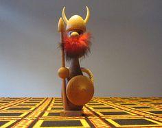 Midcentury Modern Teak Wood Big Viking Figurine with Red Moustache/Beard - Made in Denmark - 1960s