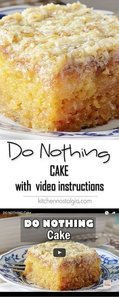 video recipe with step-by-step instructions for tasty Do Nothing Cake, aka Texas Tornado Cake - super moist pineapple dump/poke cake with coconut walnut frosting; ridiculously easy to make and ideal for potlucks!