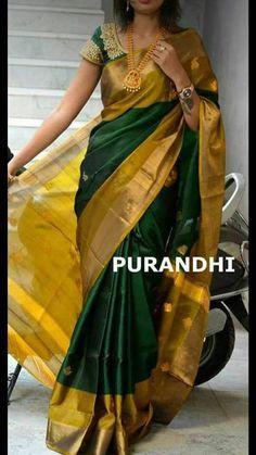Pattu Sarees Wedding, Uppada Pattu Sarees, Silk Saree Kanchipuram, Bridal Sarees, Handloom Saree, Indian Silk Sarees, Indian Blouse, Mysore Silk Saree, Mode Bollywood