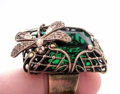 Emerald Forest Dragonfly Ring statement ring with by Federikas