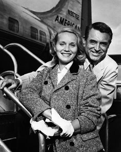 """Queens, New York, New York, USA --- 9/9/1958-New York: actress Eva Marie Saint and actor Cary Grant """"mug"""" for photographers at La Guardia Airport Sept. 9th before boarding an American Airlines plane to Chicago. The two movie stars will be working in the windy city on M.G.M's """"North by Northwest"""". --- Image by © Bettmann/CORBIS"""