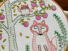 woodland fox embroidery