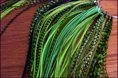 Feather Hair Extensions Olive Lime Kelly Forest Green Long Hair Feathers Grizzly and Solid Rooster Extension Pack of 10