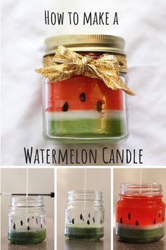 """Step-by-step instructions on how to make a scented Watermelon Candle. In this tutorial, I used a Bath and Body works scent """"Cucumber Melon"""" to scent this candle. You will learn how to make the perfect homemade gift that smells and looks amazing! Homemade Scented Candles, Homemade Gifts, Diy Gifts, Diy Candles Easy, Soy Candles, Making Candles, Unique Candles, Diy Candle Ideas, Diy Ideas"""