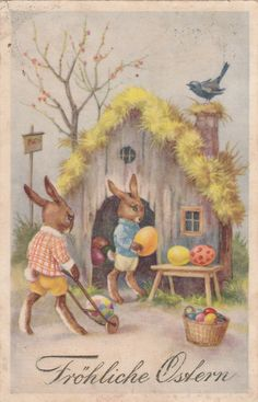 Vintage Easter card - house with bunnies, wheelbarrow Ostern, Hase-Osterhase mit Ostereier vorm Hasenhaus, alte Glückwunschkarte Easter Peeps, Easter Art, Easter Crafts, Happy Easter, Easter Bunny, Vintage Greeting Cards, Vintage Postcards, Easter Stickers, Easter Parade