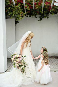 Bride and Beaming Flower Girls l White Wedding