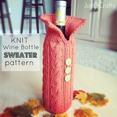 Knit Your Wine Bottle A Sweater |Just B Crafty