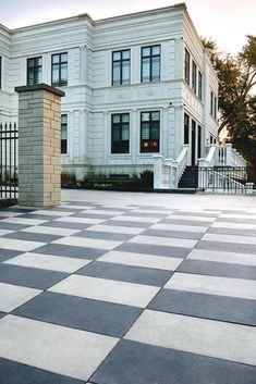 Here are a few of our favorite driveway paver patterns, from ultra-modern to eternally elegant to help you get started! Modern Driveway, Driveway Design, Driveway Landscaping, Home Tiles Design, Paver Patterns, Landscape Pavers, Paving Ideas, Paver Stones, House Tiles