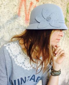 Women's Hat fur felt Bright gray color  Lightweight and by Piece4U, ₪90.00