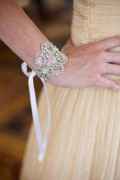 Silver Crystal Bridal Cuff Bracelet