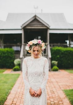 Hello May. Grace Loves Lace bride. Floral crown style.