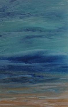 "Daily Paintworks - ""Contemporary Abstract Seascape Coastal Art Beach Painting ""Evening Mist"" by Colorado Contemporary Ar"" - Original Fine Art for Sale - © Kimberly Conrad"