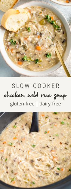 This healthy slow cooker chicken wild rice soup is creamy and comforting but still nourishing with lots of veggies shredded chicken and wild rice. Added bonus: its so easy to whip up gluten-free dairy-free. Slow Cooker Chicken Healthy, Slow Cooker Soup, Slow Cooker Recipes, Cooking Recipes, Chicken Cooker, Oven Recipes, Easy Cooking, Healthy Chicken Soup, Whole Food Recipes