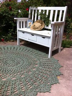 Sage Green Giant Crochet Doily Rug Throw 60 - (if I were going to use it outside, I would think plarn would be better, but I want one of these! or two or three or four ... need one to go on the bed, one for the sofa, one or more as an area rug ...)