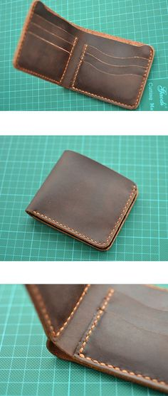 Handmade wallet Mens leather wallet Hand sewing Brown by Tiswimy