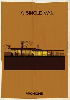 Illustrations of Architecture in Film A Single Man. Directed by Tom Ford. Image Courtesy of Federico BabinaA Single Man. Directed by Tom Ford. Image Courtesy of Federico Babina Cinema Architecture, Famous Architecture, Drawing Architecture, Architecture Panel, Architecture Graphics, Architecture Portfolio, Building Illustration, House Illustration, Poster Minimalista