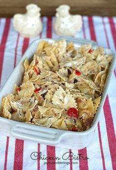 Chicken Bistro- a chicken and pasta recipe that tastes great hot or cold. Perfect for a potluck dinner. joyfulscribblings.com