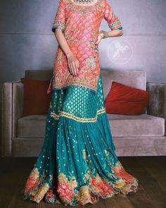 Desi Wedding Dresses, Party Wear Dresses, Bridal Dresses, Wedding Outfits, Gharara Designs, Lehenga Designs, Shadi Dresses, Pakistani Dresses, Indian Designer Outfits
